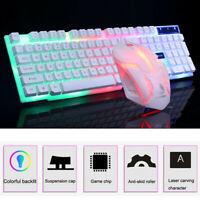 Colorful LED Illuminated Backlit USB Wired Rainbow Gaming Keyboard & Mouse Set