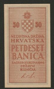 1942 CROATIA 50 BANCIA NOTE