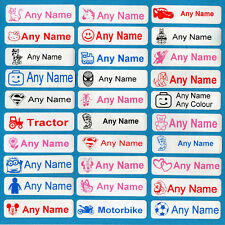 25 Printed Iron-On Name Tags tapes Custom Labels School Clothes Personalised Kid