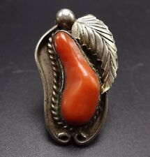 Vintage NAVAJO Sterling Silver & Old Red Mediterranean BRANCH CORAL RING, sz 6.5