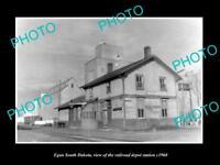 OLD LARGE HISTORIC PHOTO OF EGAN SOUTH DAKOTA, RAILROAD DEPOT STATION c1960