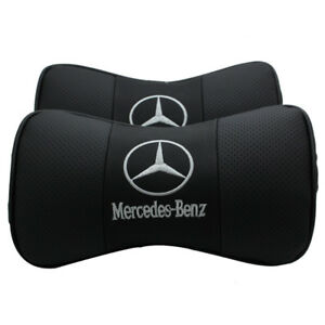 2Pc Black Color Real Leather Car Seat Neck Pillow Car Headrest Fit For Benz Car