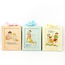 Vtg Style Set Of 3 Wood Framed Nursery Rhymes Baby Room Decor Pink Blue Yellow