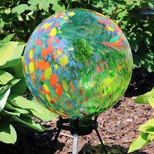"Sunnydaze Round Green Artistic Glass Outdoor Garden Gazing Ball Globe - 10"""