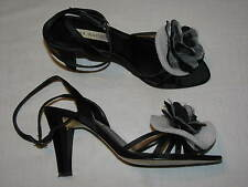 7 Ann Marino Ladies Black Matte Satin Floral Evening Dress shoes Heel women Gray