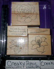 STAMPIN UP FIFTH AVENUE FLORAL 5 RUBBER STAMPS FLOWERS STEM ROSE