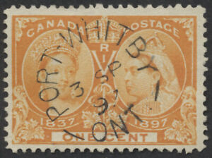 Canada Postmark - Port Whitby Ont Split Ring 3 SP 97, #51 1c Jubilee, VF