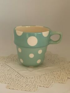 M&S REPLACEMENT STACKING MUG STACKABLE AQUA WHITE DOT SPOT MARKS AND SPENCER
