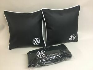 """2 X 17"""" Faux Leather black & white Campervan Embroidered Cushions  + Fleece"""