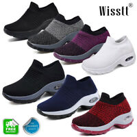 Women's Sports Air Cushion Sneakers Athletic  Mesh Walking Slip-On Casual Shoes