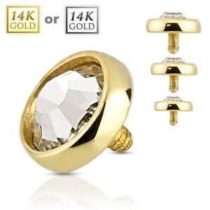 14K Solid GOLD Round Flat CZ Dermal Anchor Top Internal Screw Ring Stud Piercing