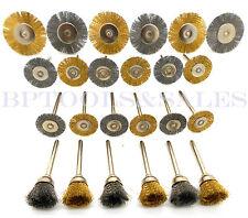 "24PC Mini Brush Set 1/8"" Shank Wire Brush Brass Cup Wheel DREMEL or Drill NEW"