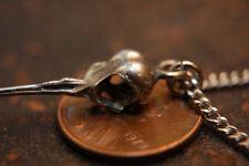Tiny Sterling Silver Hummingbird Skull Pendant Necklace Bird 027