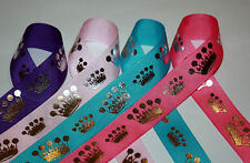 Sparkle Princess Crown Metallic Grosgrain Ribbon 7/8""