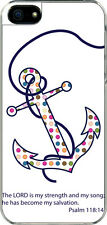 iPhone 5 Polka Dot Faith Anchor Psalm 118:14 Designed Sticker on Hard Case Cover