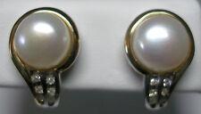 PLATA DE LEY / 14 Quilates 9mm FW Cultivada Perla & Diamante Original Pendientes