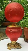 Antique Red Satin Ribbons and Roses aka Ruffles and Roses GWTW Pittsburgh Lamp