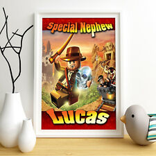 Indiana Jones Lego Personalised Poster A4 Print Wall Art Any Name Fast Delivery