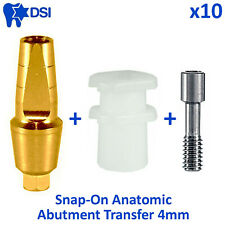 10x DSI Dental Implant Straight Snap On Cap Click Anatomic Abutment Transfer 4mm
