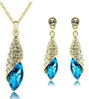 Gold Crystal Blue Teardrop Diamante Jewellery Set Drop Earrings & Necklace S680