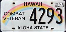 "HAWAII "" COMBAT VETERAN - ALOHA STATE "" HI MILITARY Specialty License Plate"