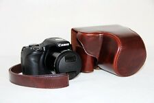 Coffee Leather Camera case bag + strap for Canon PowerShot SX540 HS SX540HS
