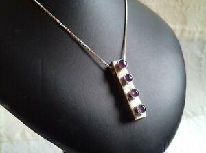 Sterling Silver Amethyst Set Ingot Necklace Sterling Silver Chain