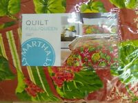 New Martha Stewart Pleasant Grove Red/ Green Full/Queen Quilt New w tags