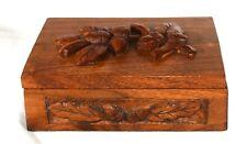 """Vintage Carved Acorn Wooden Hinged Trinket Box  6"""" x 5"""" x 2"""""""