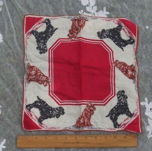 "Dog Printed Vintage Linen Handkerchief~Cocker Spaniels~12 1/2"" Square"
