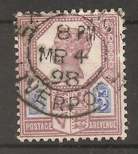 UK-GREAT BRITAIN-1887/1900-VICTORIA-5 PENCES-VIOLET & BLUE-Y&T nr.99-used stamp