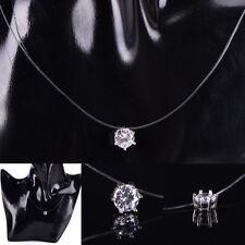 Mode Frauen Kristall Halskette Unsichtbare Linie Zirkon Schlüsselbein Kette  E