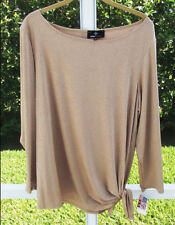RONNI NICOLE SOLID TAN GOLD CASUAL POLYESTER 3/4 SLEEVE KNIT BLOUSE PLUS 2X NEW