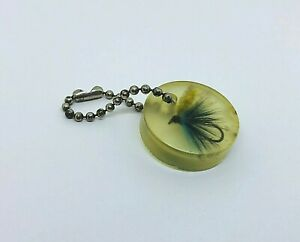 Vintage Embedded Fly ~  Vintage Fly Fishing Lure Keychain