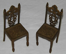 Solid Brass Miniature Victorian Style Chairs Dolls House Fireside Ornament x 2