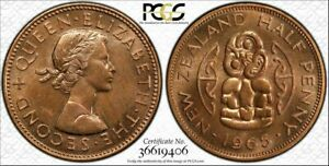 1965 NEW ZEALAND HALF PENNY PCGS MS65RD BU TONED COIN IN HIGH GRADE