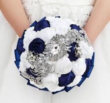 Large Crystals Satin Artificial Roses Wedding Bridal Bouquet Brooch Bride Flower