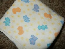 Vintage 30x30 Carter's Teddy bears Flannel Receiving baby Crib Blanket Lovey