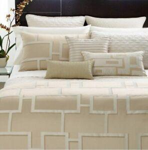 "Hotel Collection Maze King Bedskirt Cream Gold 78 X 80"" 16"" Drop"