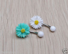 2ps flower belly button ring Navel Piercing  Belly jewelry Summer Jewelry