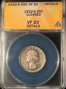 1932-S Washington Quarter == ANACS  VF-20 - Details-Cleaned == FREE SHIPPING !