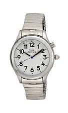 TimeOptics Women's Talking Silver-Tone Day Date Alarm Expansion Bracelet Watch