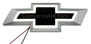White LED BLACK Front Grille Bowtie Emblem Badge Decal Replaces GM Part 12335633