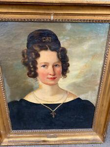 Josef Lavos 1807-1848 Oil Painting Young Lady Vienna Dress Cross Portrait HELP ?