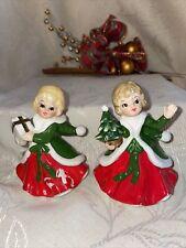 Vintage Lefton Japan Figurines 2 Christmas Girls 1-Tree 1-Package