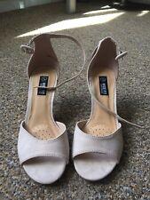Nude, suede look, size 3, wide fit, peep toe, kitten heel sandal