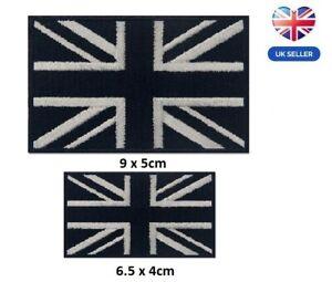 Embroidered Union Jack British Patch Iron On/ Sew On Black UK Flag Badge 2 sizes