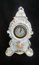 Antique Wind Up New Haven China Porcelain Cherub Clock