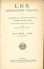 LEX - LEGISLAZIONE ITALIANA - 1927 - GENNAIO-GIUGNO