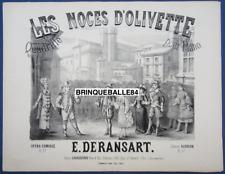 OPÉRA AUDRAN PARTITION PIANO DERANSART QUADRILLE LES NOCES D'OLIVETTE 1879 ILL